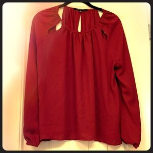 Red Blouse with Cutouts